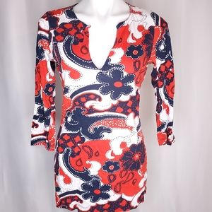 Old Navy red white and blue floral dress top sz M
